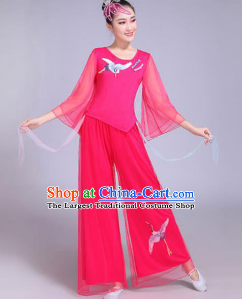 Chinese Traditional Yangko Dance Printing Cranes Costumes Folk Dance Fan Dance Pink Clothing for Women