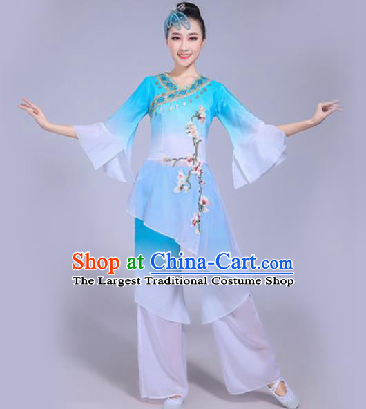 Chinese Traditional Yangko Dance Costumes Folk Dance Fan Dance Blue Clothing for Women