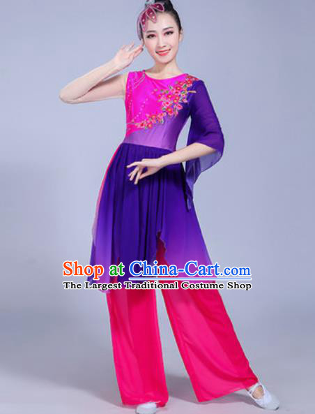 Chinese Traditional Yangko Dance Costumes Folk Dance Fan Dance Purple Clothing for Women