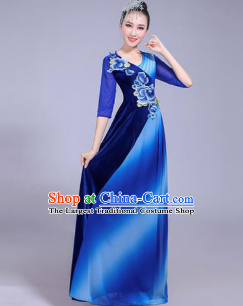 Professional Modern Dance Opening Dance Royalblue Dress Stage Show Chorus Costumes for Women
