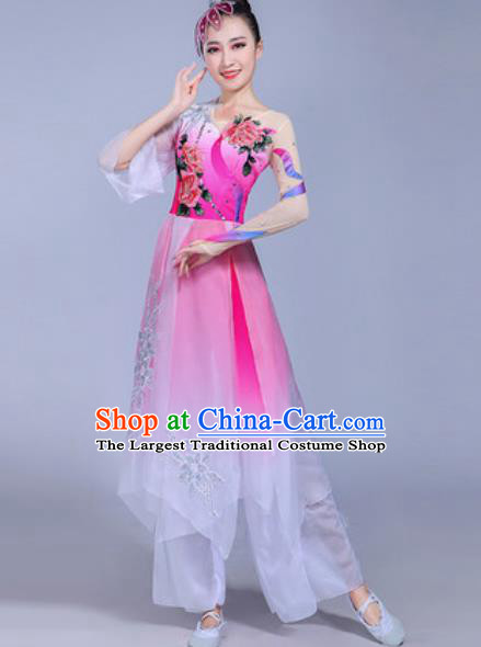 Traditional Chinese Classical Dance Costume Folk Dance Fan Dance Pink Dress for Women