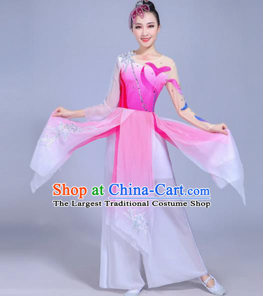 Traditional Chinese Classical Dance Costume Folk Dance Fan Dance Rosy Dress for Women
