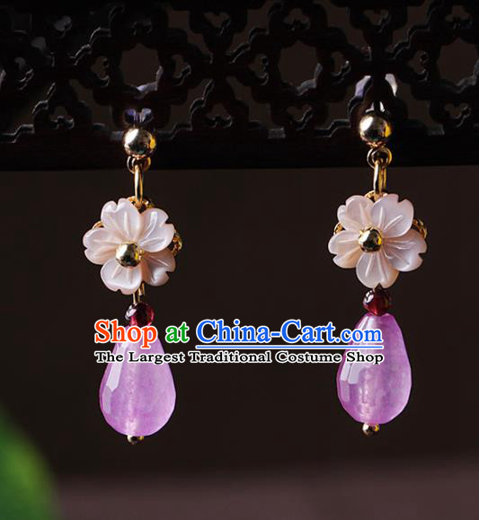 Chinese Traditional Jewelry Accessories National Hanfu Rose Chalcedony Earrings for Women