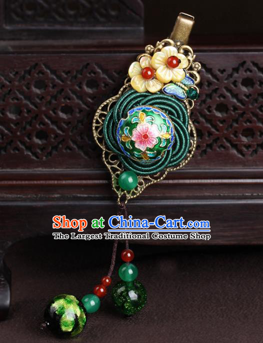 Chinese Traditional Hair Accessories National Hanfu Cloisonne Green Hair Stick for Women