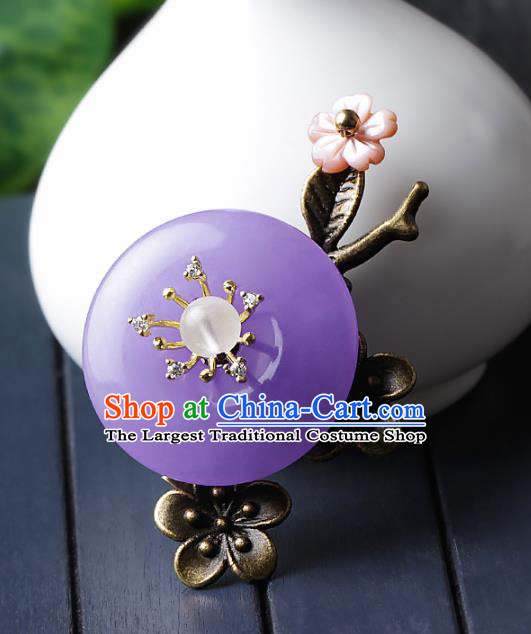 Chinese Traditional Jewelry Accessories National Hanfu Purple Jade Brooch for Women