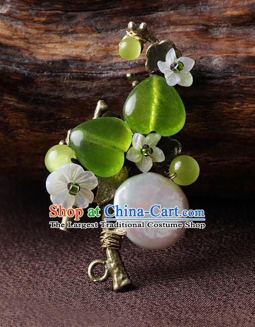 Chinese Traditional Jewelry Accessories National Hanfu Green Glass Brooch for Women