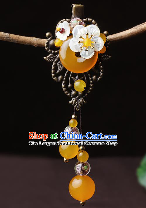 Chinese Traditional Hair Accessories National Hanfu Yellow Chalcedony Hair Stick for Women