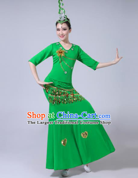 Chinese Ethnic Costumes Traditional Dai Nationality Peacock Dance Folk Dance Green Dress for Women