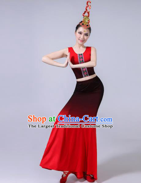 Chinese Ethnic Costumes Traditional Dai Nationality Peacock Dance Folk Dance Gradient Red Dress for Women