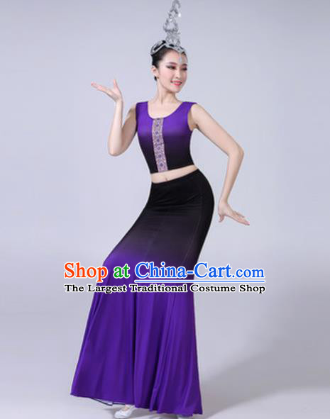 Chinese Ethnic Costumes Traditional Dai Nationality Peacock Dance Folk Dance Gradient Purple Dress for Women