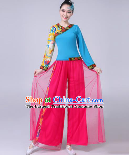 Traditional Chinese Yangko Dance Costumes Folk Dance Fan Dance Clothing for Women