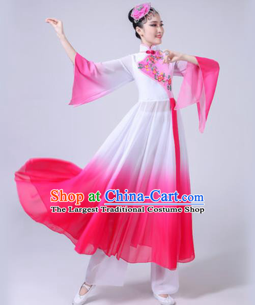 Chinese Classical Dance Costumes Traditional Chorus Group Dance Umbrella Dance Pink Dress for Women