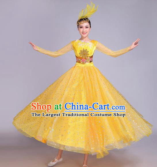 Professional Modern Dance Yellow Veil Dress Stage Show Chorus Group Dance Costumes for Women