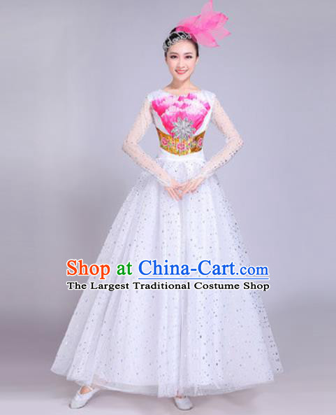 Professional Modern Dance White Veil Dress Stage Show Chorus Group Dance Costumes for Women