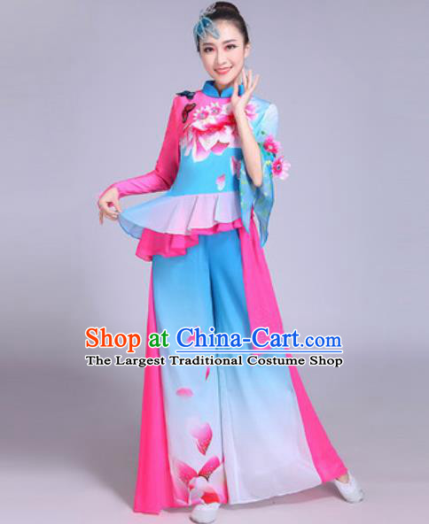 Chinese Traditional Yangko Costumes Folk Dance Fan Dance Blue Clothing for Women