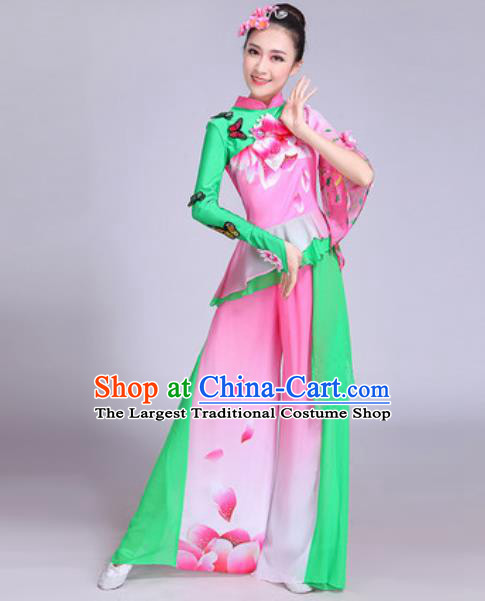Chinese Traditional Yangko Group Dance Costumes Folk Dance Fan Dance Clothing for Women