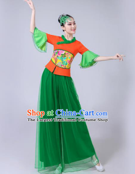Traditional Chinese Folk Dance Costumes Fan Dance Yangko Dance Green Veil Clothing for Women