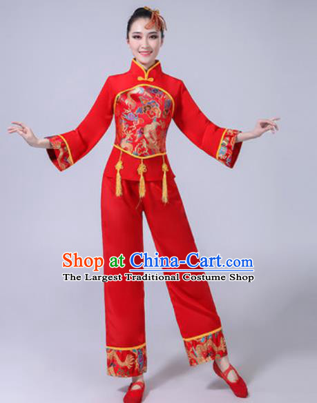 Traditional Chinese Folk Dance Red Costumes Fan Dance Yangko Dance Clothing for Women