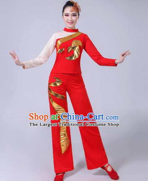 Traditional Chinese Folk Dance Yangko Dance Red Costumes Fan Dance Clothing for Women