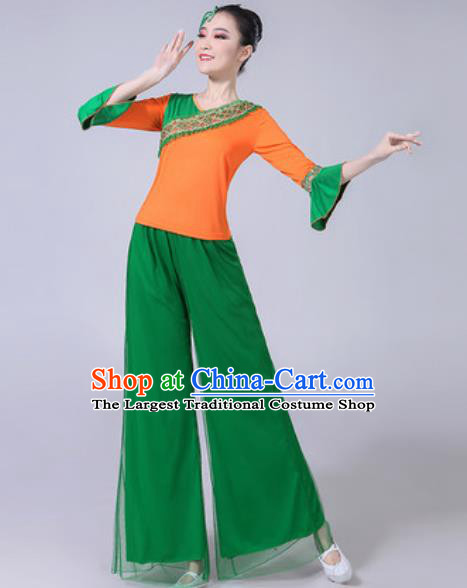 Traditional Chinese Folk Dance Yangko Dance Green Costumes Fan Dance Clothing for Women