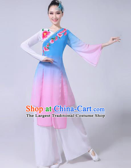 Chinese Classical Dance Dress Traditional Chorus Group Dance Umbrella Dance Costumes for Women