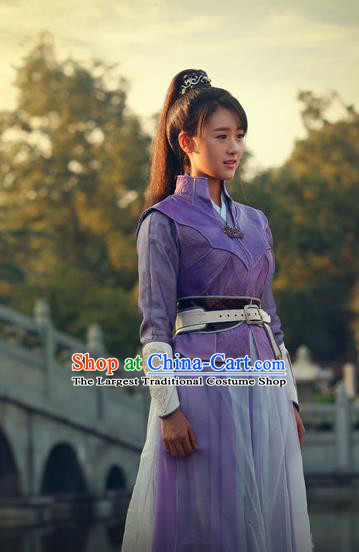 Chinese Ancient Drama Female Swordsman Purple Hanfu Dress Traditional Ming Dynasty Heroine Replica Costumes for Women