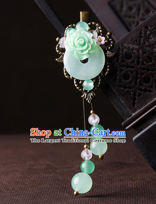 Chinese Traditional Hair Accessories National Hanfu Jade Tassel Hair Stick for Women