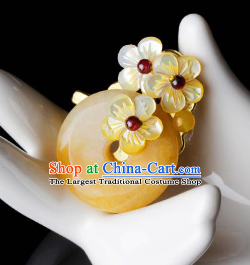 Chinese Traditional Jewelry Accessories National Hanfu Yellow Chalcedony Brooch for Women