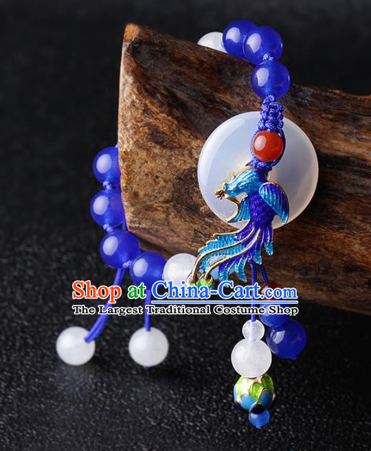 Chinese Traditional Jewelry Accessories National Hanfu Blueing Phoenix Bracelet for Women