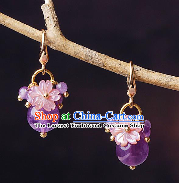 Chinese Traditional Ear Jewelry Accessories National Hanfu Purple Beads Earrings for Women