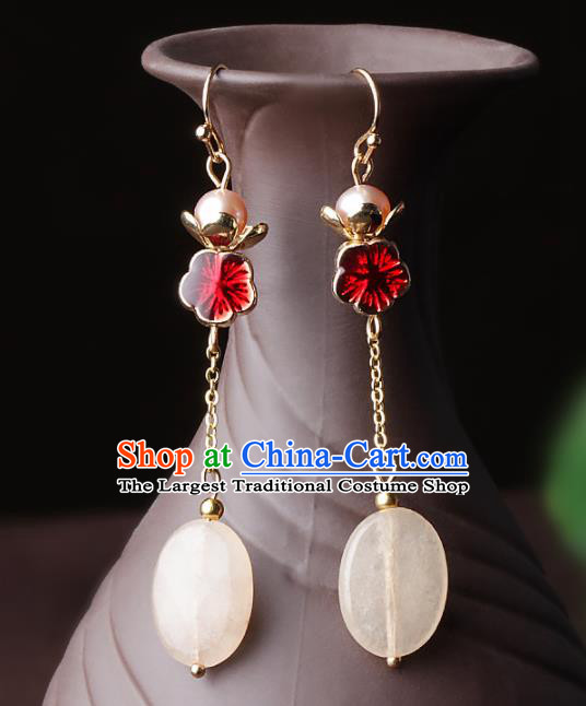 Chinese Traditional Jewelry Accessories National Hanfu Red Flower Earrings for Women