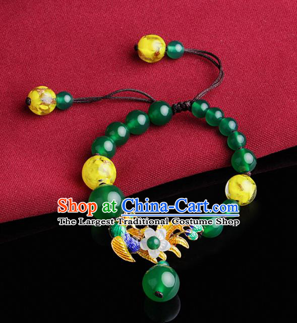 Chinese Traditional Jewelry Accessories National Hanfu Blueing Green Beads Bracelet for Women
