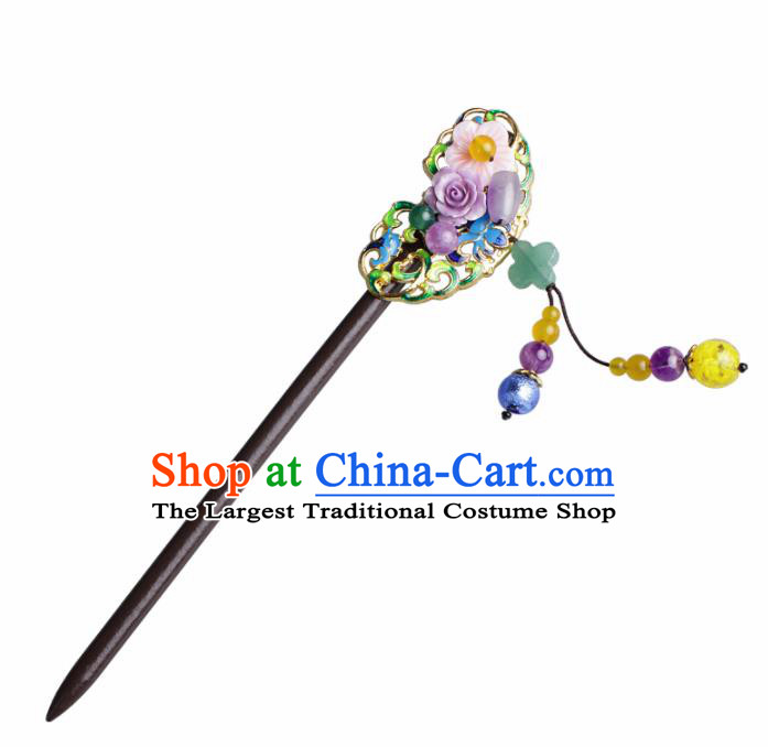 Chinese Traditional Hair Accessories National Hanfu Blueing Tassel Wood Hairpins for Women