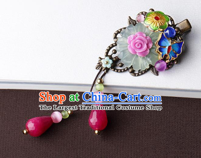 Chinese Traditional Hair Accessories National Hanfu Blueing Butterfly Tassel Hair Stick for Women