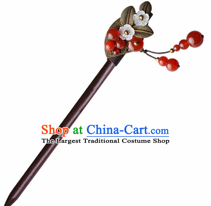 Chinese Traditional Hair Accessories National Hanfu Red Agate Beads Tassel Hairpins for Women