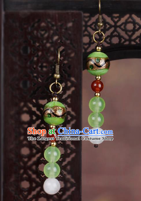 Chinese National Hanfu Classical Green Beads Earrings Traditional Ear Jewelry Accessories for Women