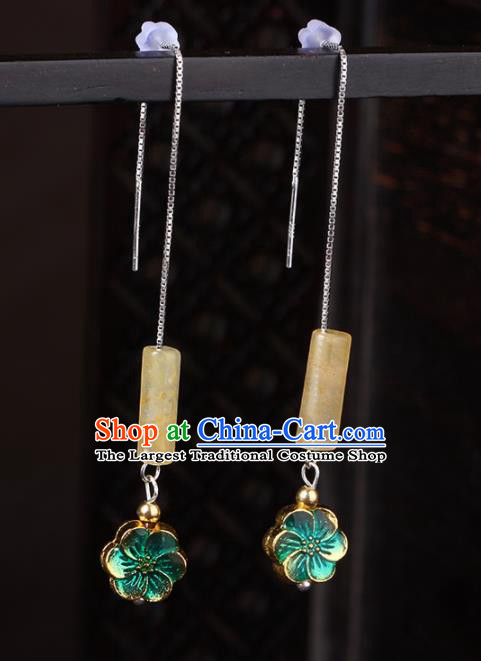Chinese National Hanfu Classical Yellow Jade Earrings Traditional Ear Jewelry Accessories for Women