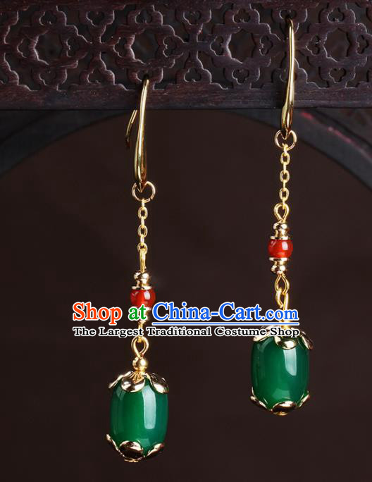 Chinese National Hanfu Classical Green Agate Earrings Traditional Ear Jewelry Accessories for Women