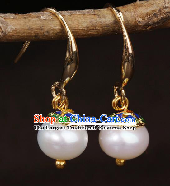 Chinese National Classical Hanfu Pearl Earrings Traditional Jewelry Accessories for Women