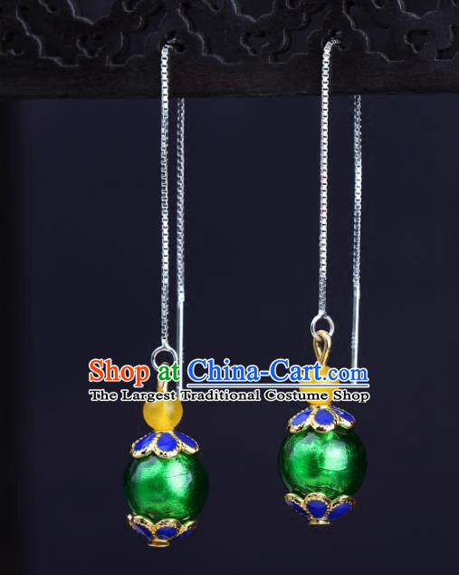 Chinese National Classical Hanfu Green Bead Earrings Traditional Ear Jewelry Accessories for Women