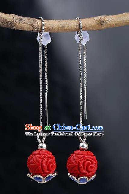 Chinese Yunnan National Classical Red Earrings Traditional Ear Jewelry Accessories for Women