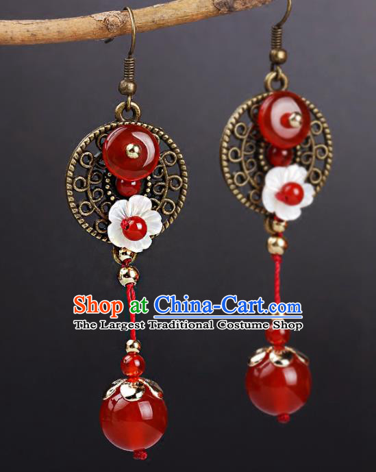 Chinese Yunnan National Classical Agate Earrings Traditional Ear Jewelry Accessories for Women