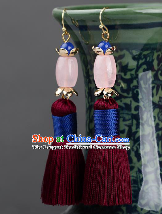 Chinese Yunnan National Classical Rose Quartz Earrings Traditional Ear Jewelry Accessories for Women
