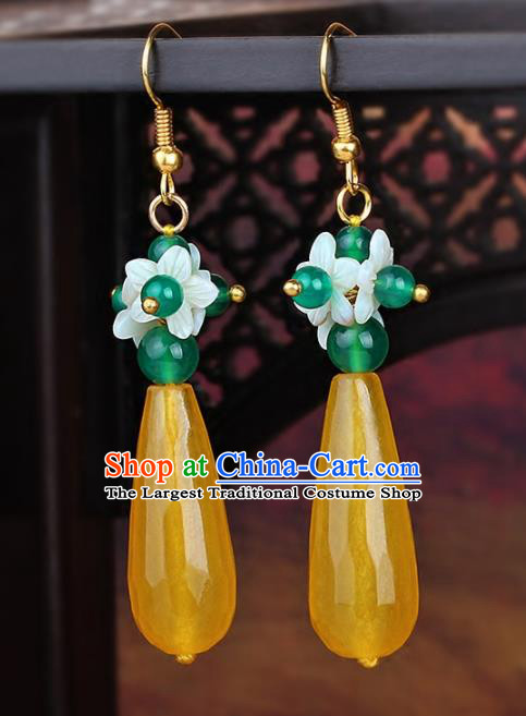 Chinese Yunnan National Classical Yellow Chalcedony Earrings Traditional Ear Jewelry Accessories for Women