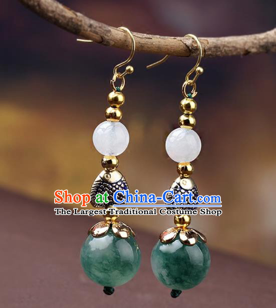 Chinese Yunnan National Classical Earrings Traditional Agate Ear Jewelry Accessories for Women