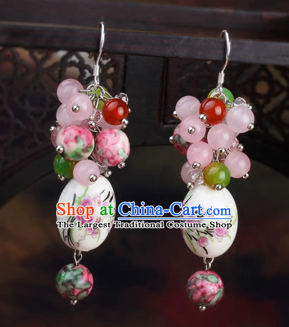 Chinese Yunnan National Classical Ceramics Earrings Traditional Hanfu Ear Jewelry Accessories for Women