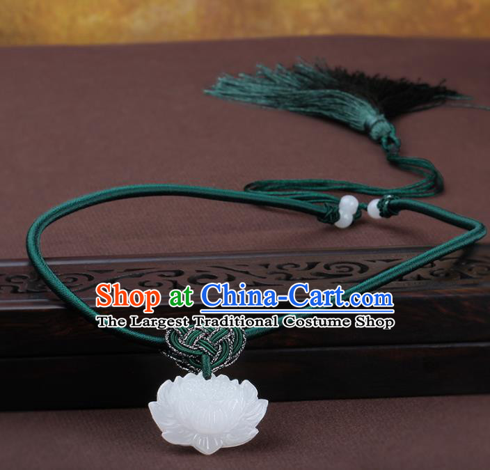 Chinese Yunnan National Classical Carving Lotus Jade Necklace Traditional Hanfu Jewelry Accessories for Women