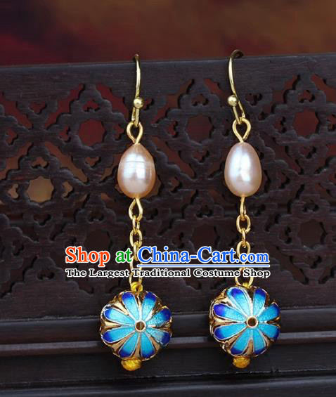 Chinese Yunnan National Classical Pearls Blueing Earrings Traditional Ear Jewelry Accessories for Women