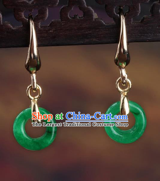 Chinese Yunnan National Classical Jadeite Earrings Traditional Hanfu Ear Jewelry Accessories for Women