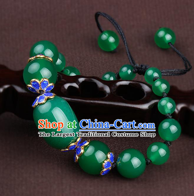Chinese Traditional Jewelry Accessories National Hanfu Jadeite Beads Bracelet for Women